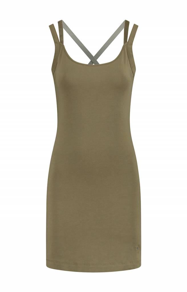 SYLVER Cotton Elasthane Dress - Olijfgroen