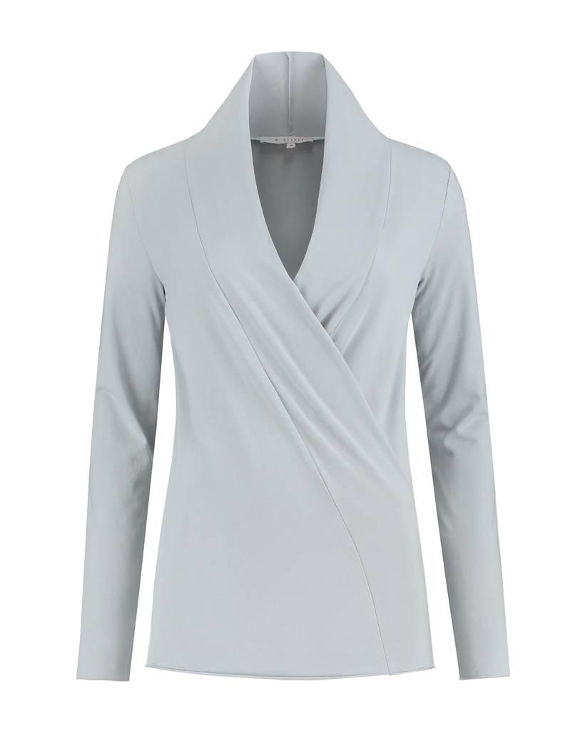 SYLVER Cotton Elasthane Shirt wrap - Licht Grijsblauw