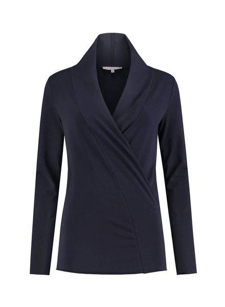 SYLVER Cotton Elasthane Shirt wrap - Donkerblauw
