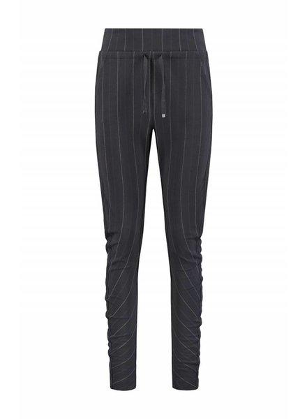 SYLVER Stripe Sweat Trousers back pockets - Donkergrijs