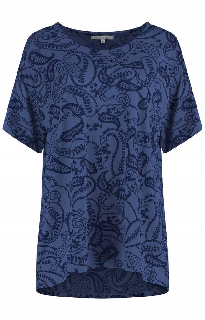 SYLVER Paisley Shirt - Purple Blue