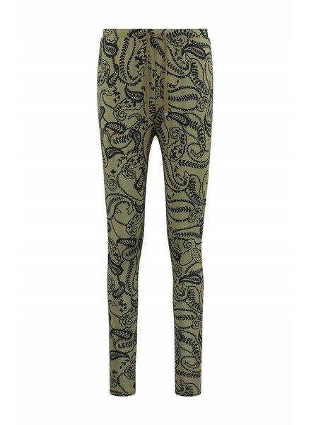 SYLVER Paisley Trousers basic - Olijfbruin