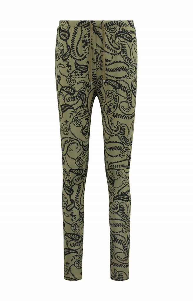 SYLVER Paisley Trousers basic - Olijfgroen