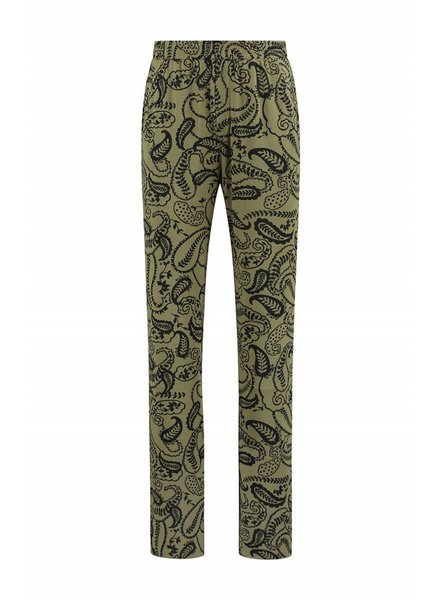 SYLVER Paisley Trousers wide legs - Olijfbruin