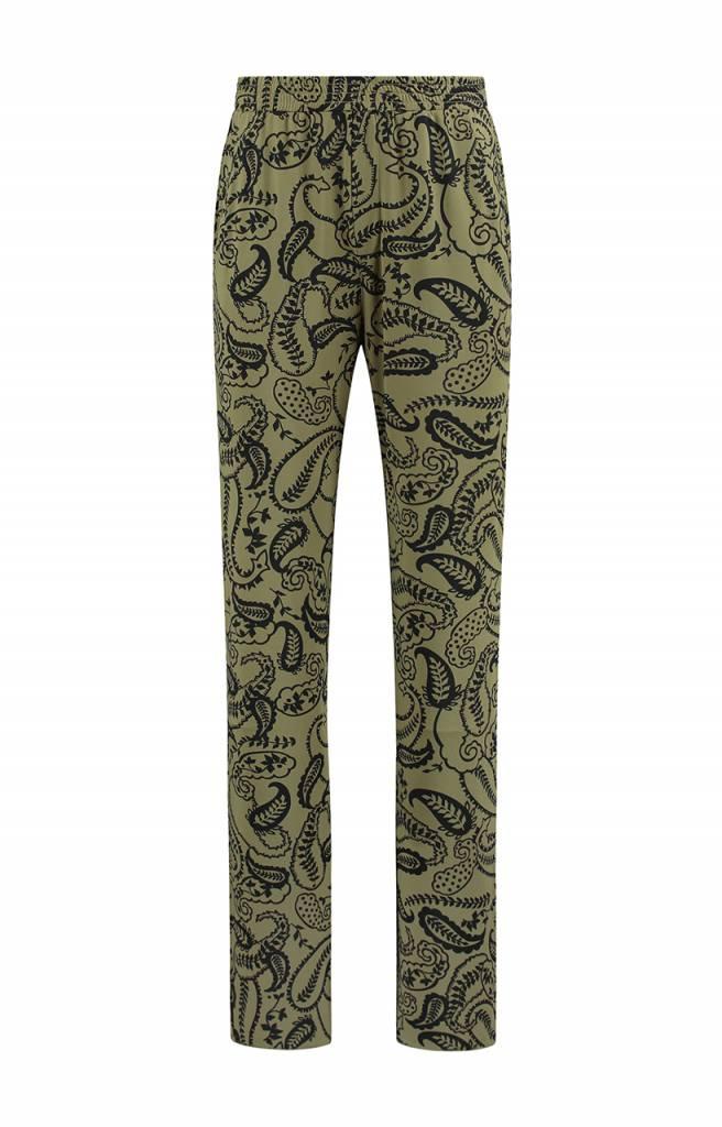 SYLVER Paisley Trousers wide legs - Olijfgroen
