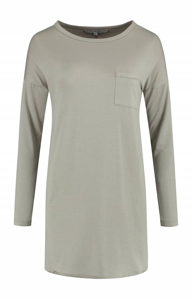 SYLVER Lyocell Shirt round neck - Taupe