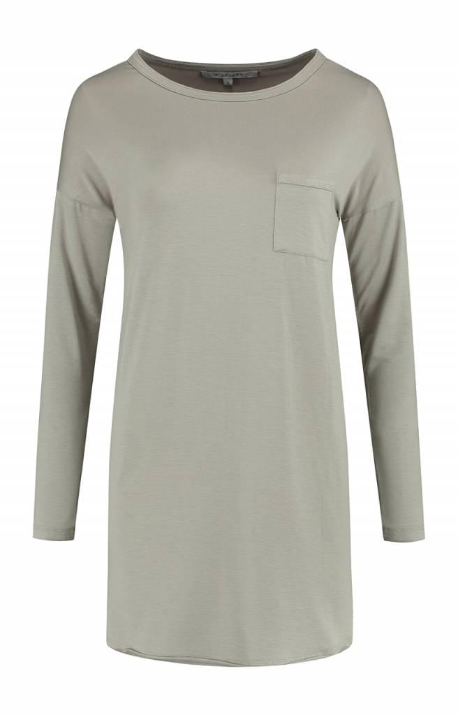 SYLVER Lyocell Shirt round neck - Zand
