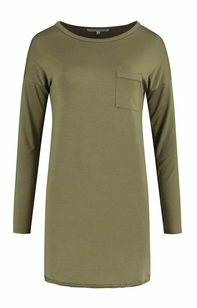 SYLVER Lyocell Shirt round neck - Olijfgroen