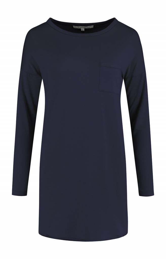SYLVER Lyocell Shirt round neck - Indigo