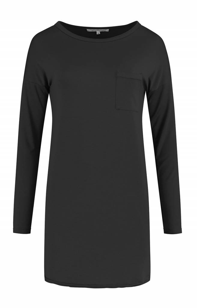 SYLVER Lyocell Shirt round neck - Charcoal