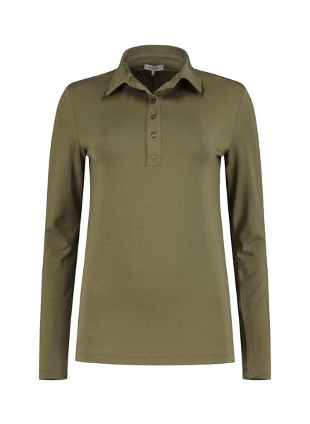 SYLVER Lyocell Shirt collar - Bright Olive