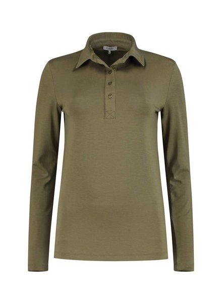 SYLVER Lyocell Shirt collar - Olijfbruin
