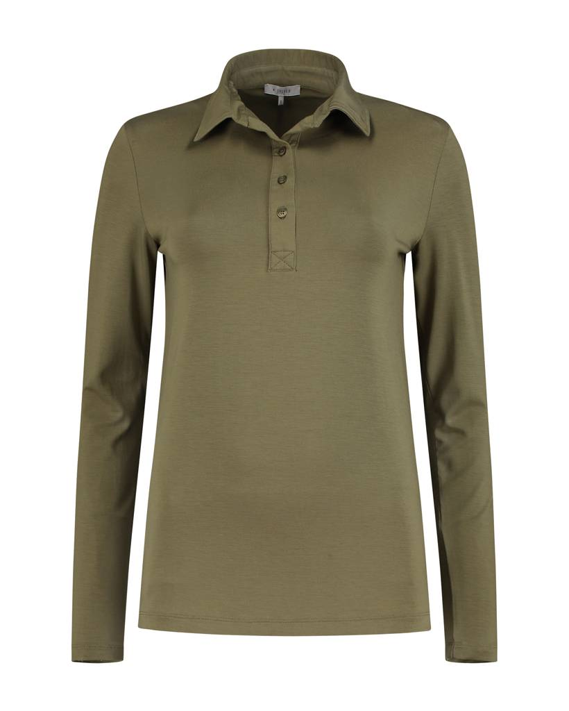 SYLVER Lyocell Shirt collar - Bright Olive