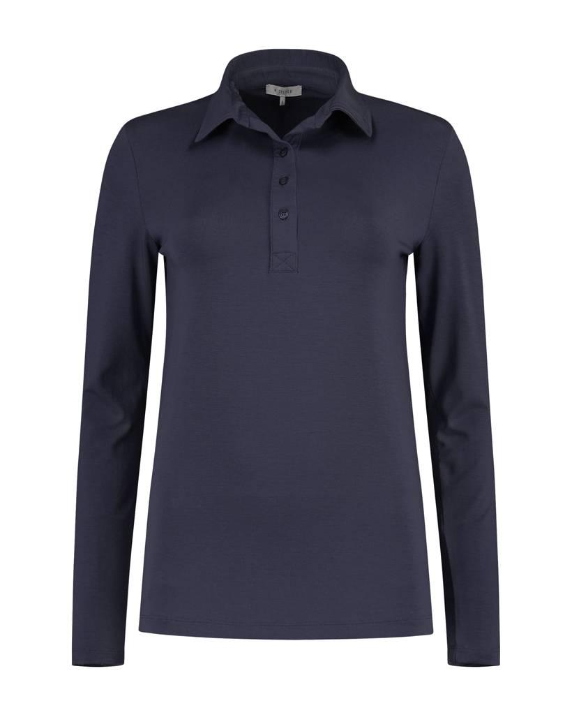 SYLVER Lyocell Shirt collar - Donkerblauw