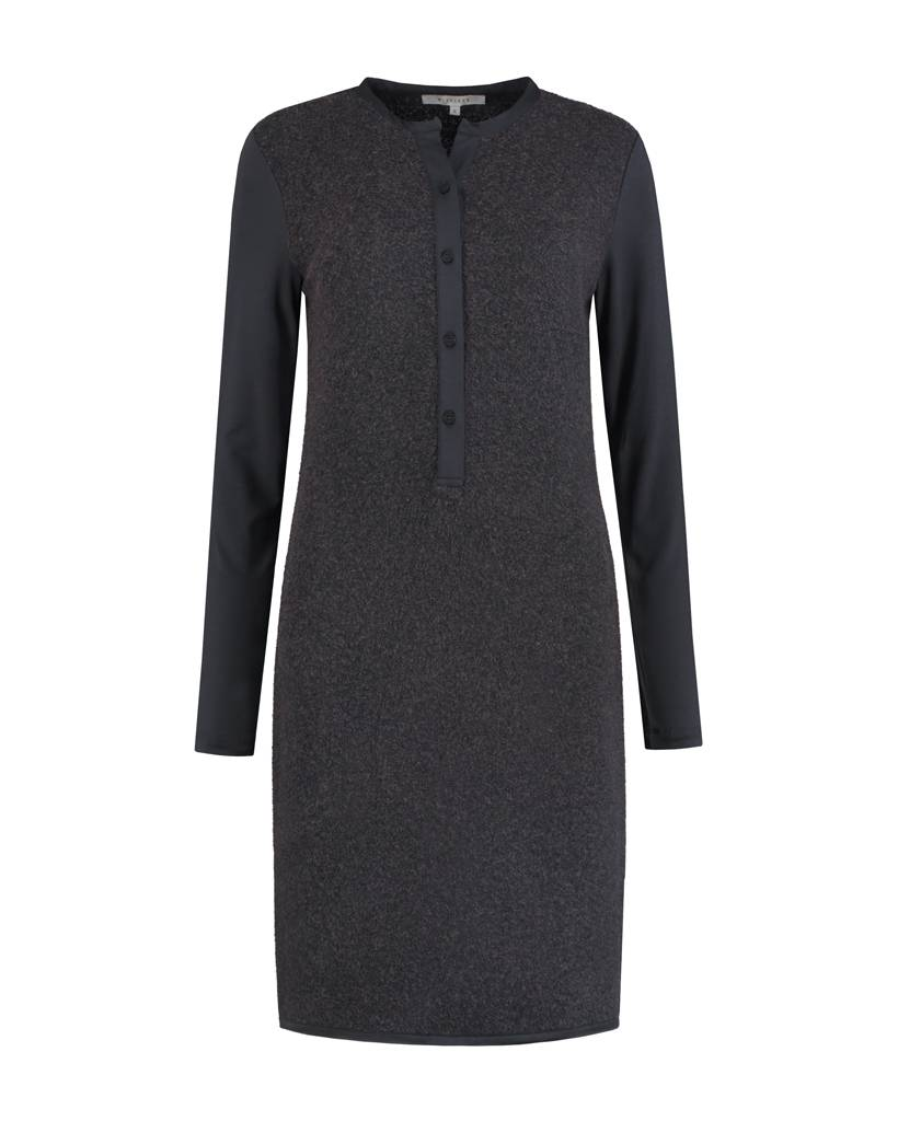 SYLVER Brushed Jersey Dress - Donkergrijs