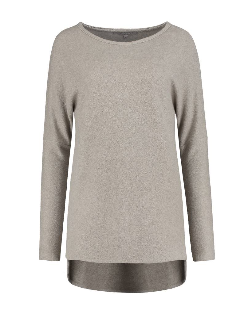 SYLVER Brushed Jersey Shirt round neck - Taupe