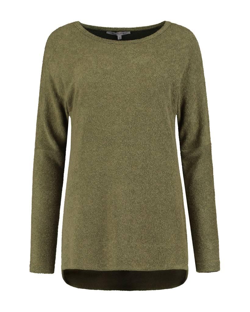 SYLVER Brushed Jersey Shirt round neck - Olijfgroen