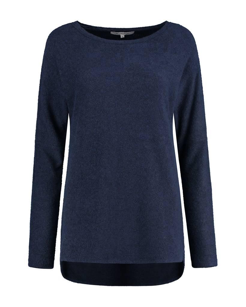 SYLVER Brushed Jersey Shirt round neck - Donkerblauw