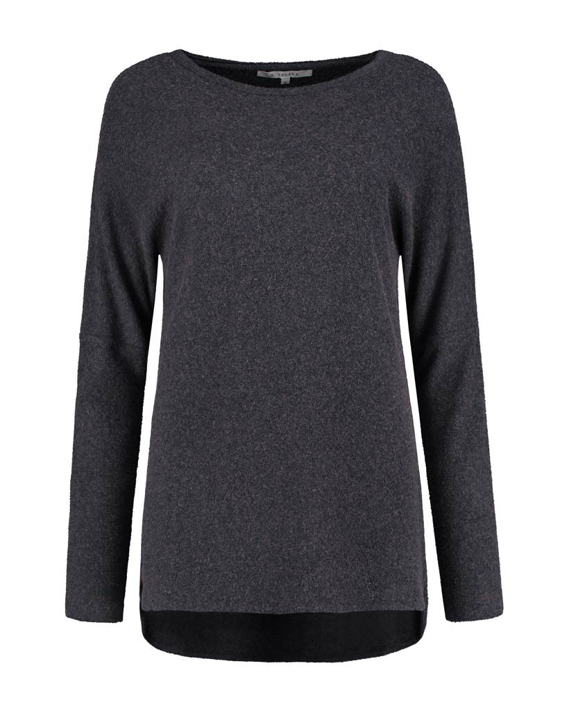 SYLVER Brushed Jersey Shirt round neck - Charcoal