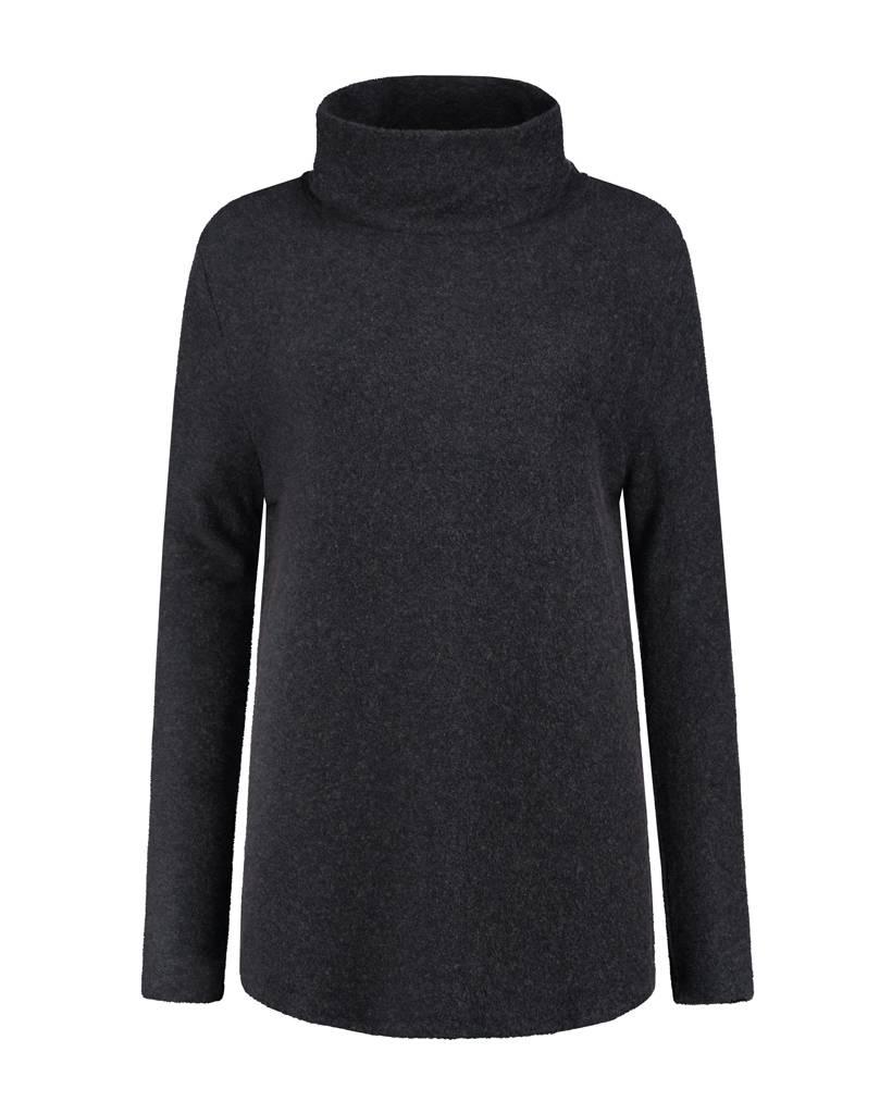 SYLVER Brushed Jersey Shirt turtle neck - Donkergrijs