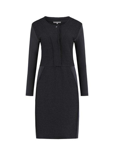 SYLVER Boiled Wool Dress - Donkergrijs
