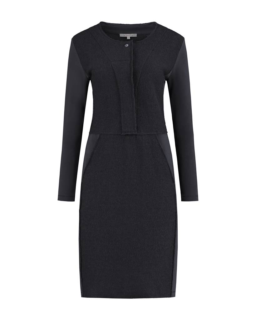 SYLVER Boiled Wool Dress - Charcoal