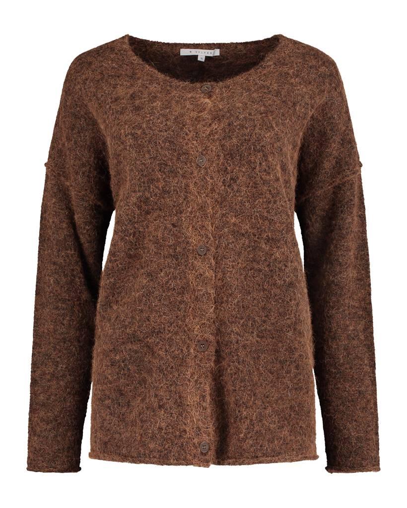 SYLVER Top Line Cardigan short - Brown Sugar