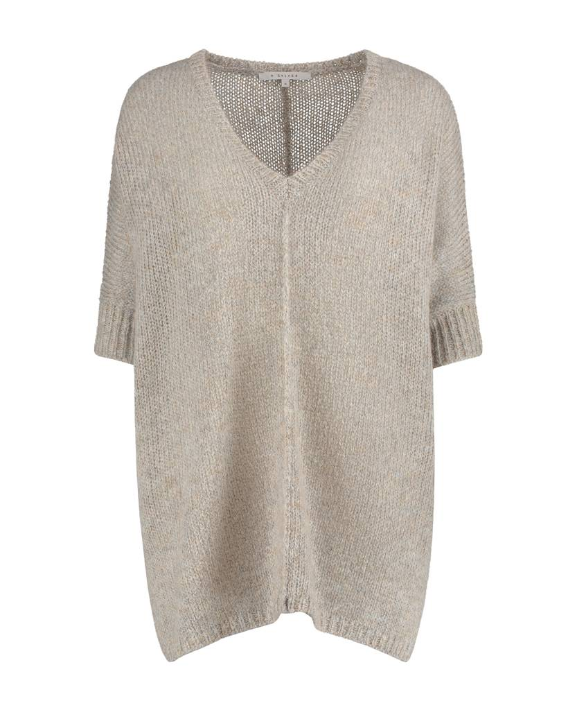 SYLVER Woolmix Pull v-neck - Taupe
