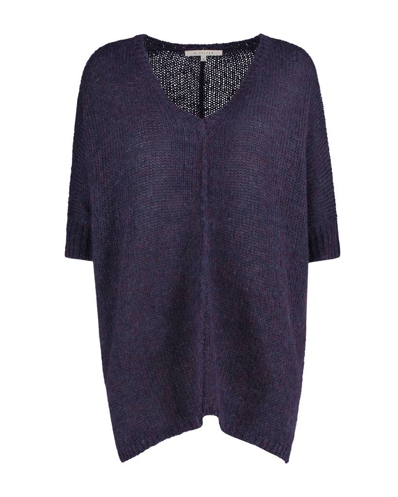 SYLVER Woolmix Pull v-neck - Donkerblauw