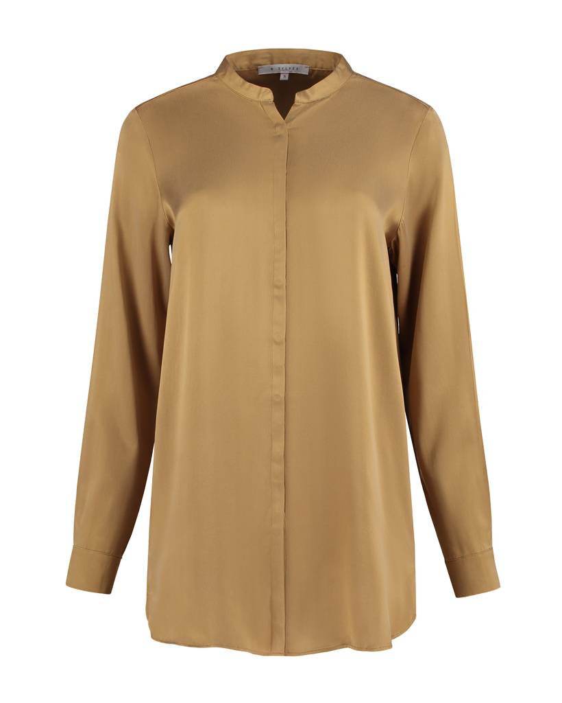 SYLVER Washed Silk Blouse round neck - Donker Goud