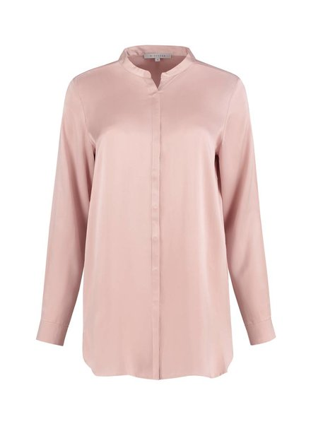 SYLVER Washed Silk Blouse round neck - Pink