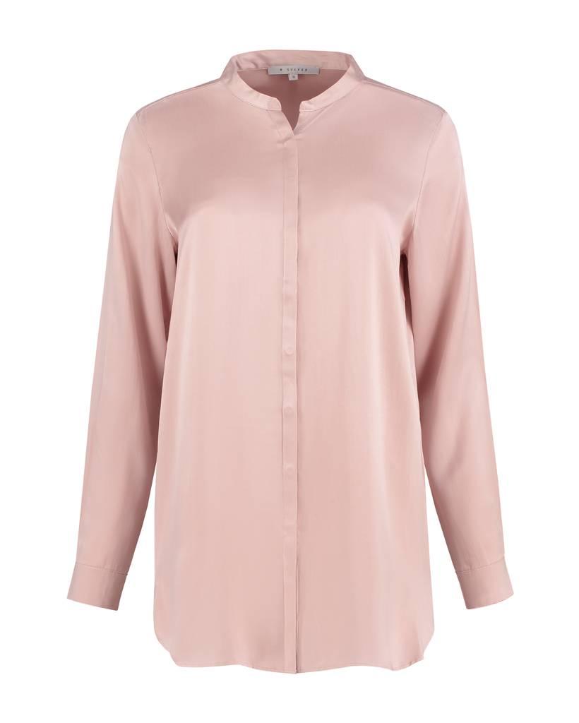 SYLVER Washed Silk Blouse round neck - Pink