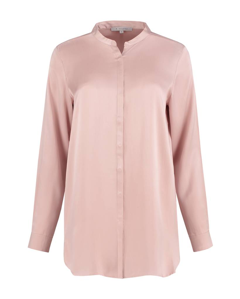 SYLVER Washed Silk Blouse round neck - Roze
