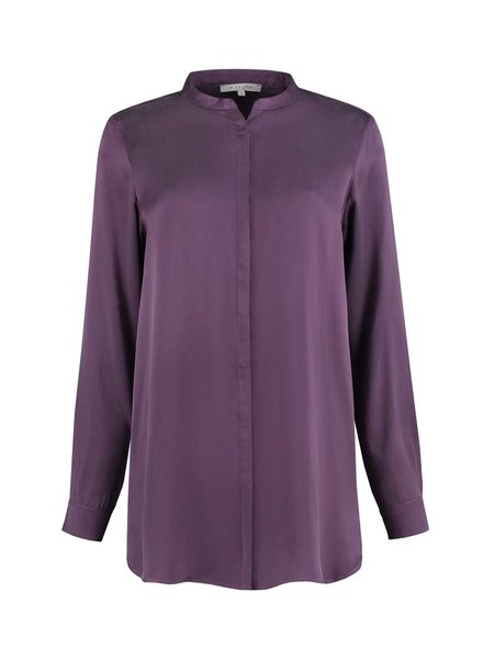 SYLVER Washed Silk Blouse round neck - Paars
