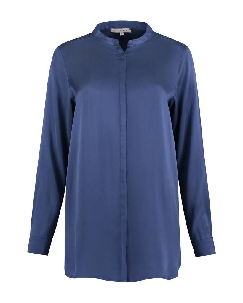 SYLVER Washed Silk Blouse round neck - Purple Blue