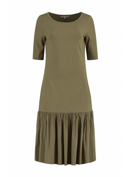 SYLVER Plissé Dress - Bright Olive