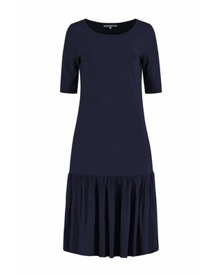 SYLVER Plissé Dress - Donkerblauw