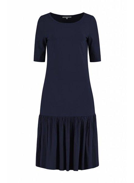 SYLVER Plissé Dress - Donkerblauw