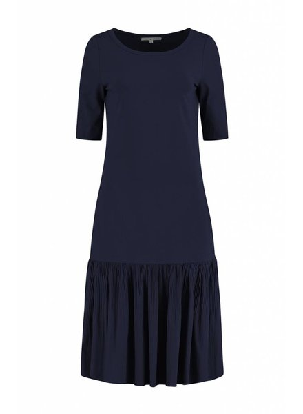 SYLVER Plissé Dress - Jeansblauw