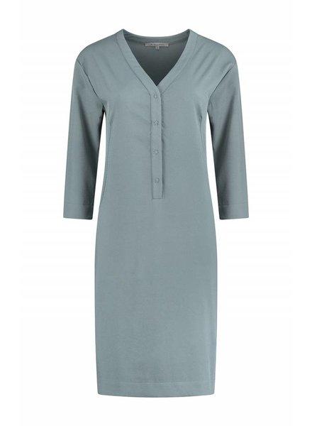 SYLVER Silky Poly Twill Dress 3/4 sleeve - Grijsblauw