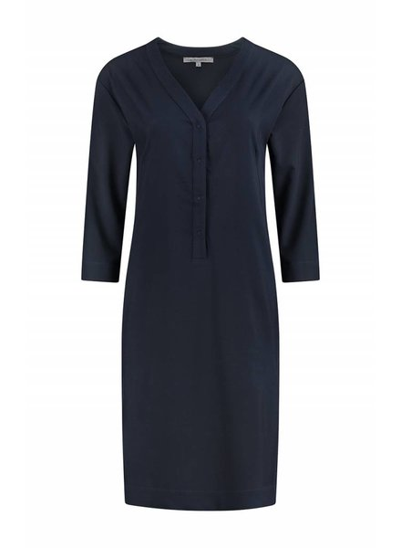 SYLVER Silky Poly Twill Dress 3/4 sleeve - Indigo