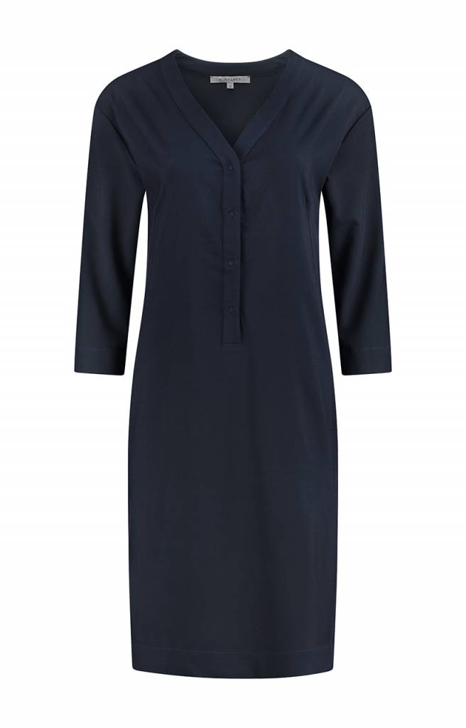 SYLVER Silky Poly Twill Dress 3/4 sleeve - Indigo