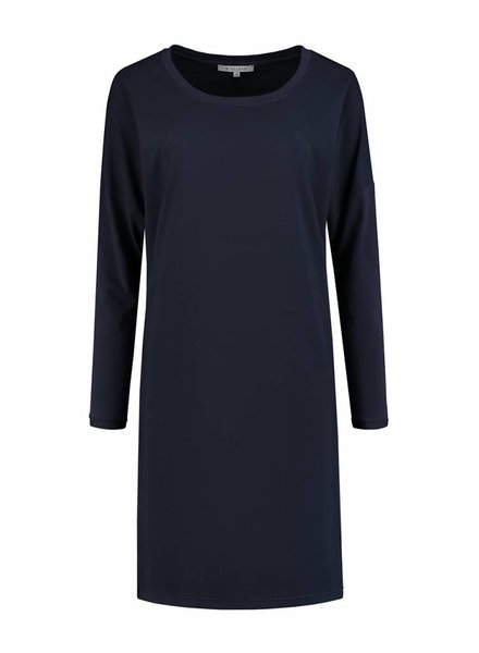 SYLVER Silky Poly Twill Dress long sleeve - Indigo