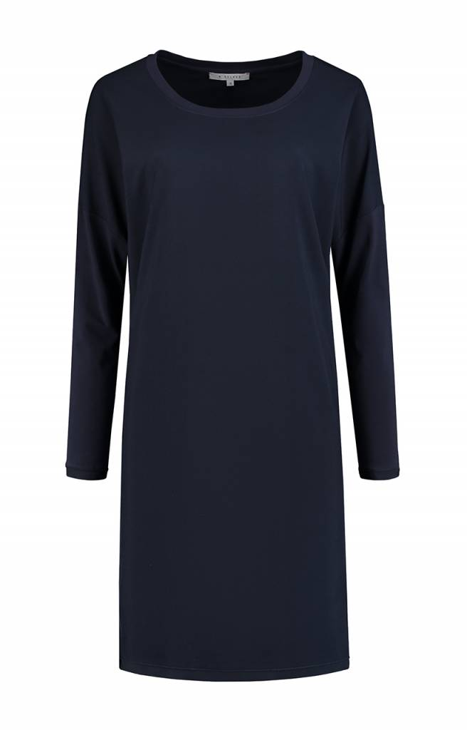 SYLVER Silky Poly Twill Dress long sleeve - Donkerblauw