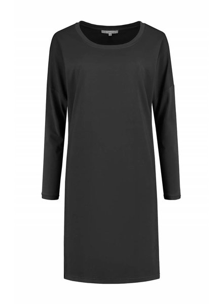SYLVER Silky Poly Twill Dress long sleeve - Donkergrijs