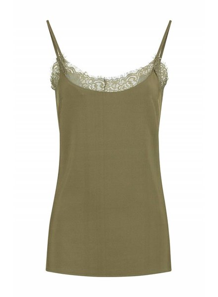 SYLVER Silky Poly Twill Top - Bright Olive