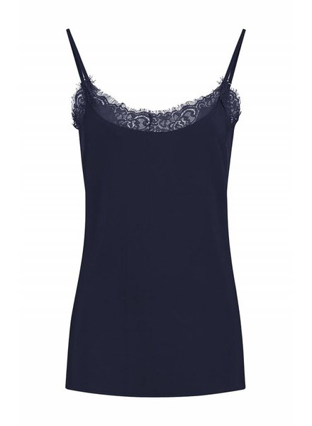 SYLVER Silky Poly Twill Top - Donkerblauw