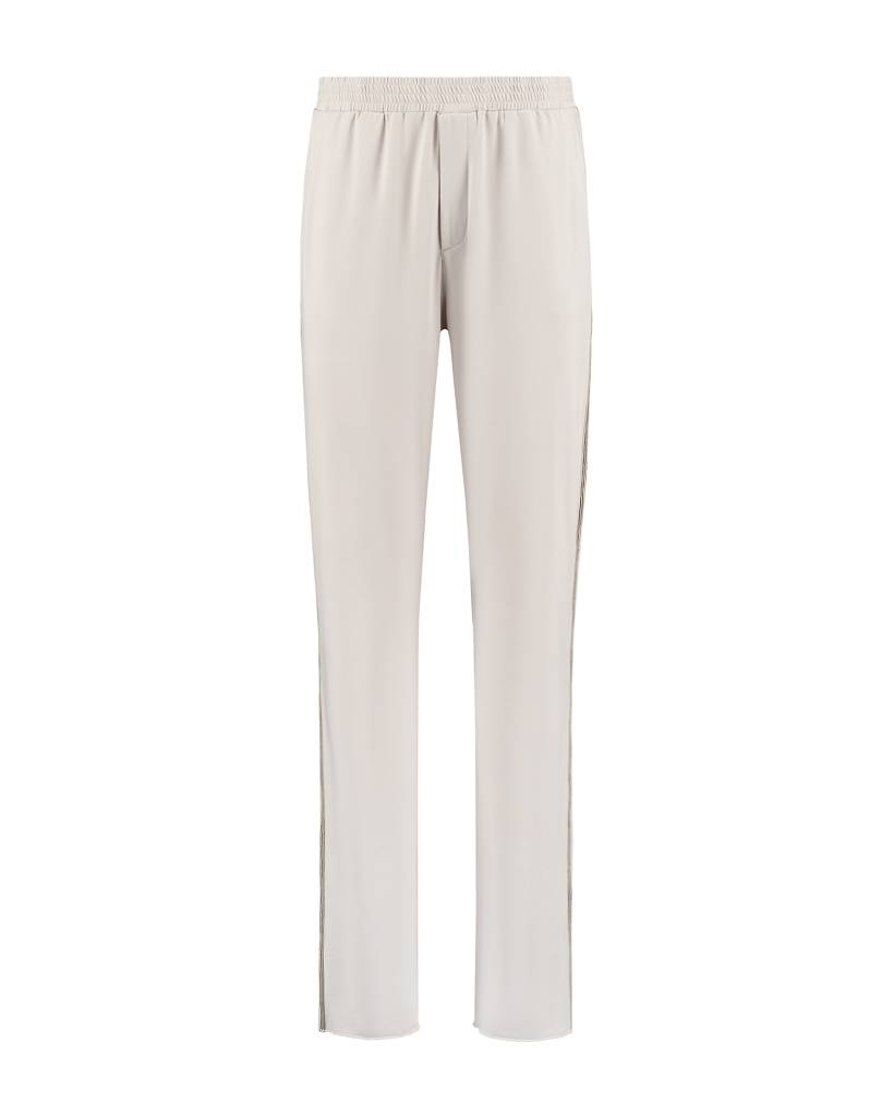SYLVER Silky Jersey Trousers Coloured Tape - Kalk