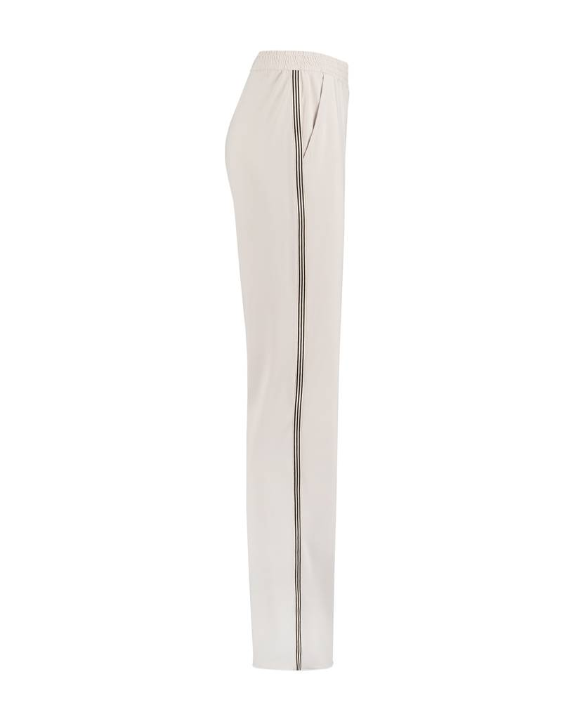 SYLVER Silky Jersey Trousers Coloured Tape - Chalk
