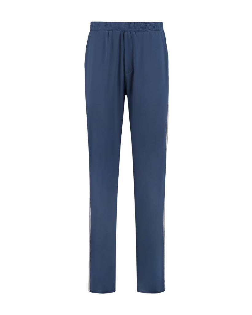 SYLVER Silky Jersey Trousers Coloured Tape - Jeansblauw